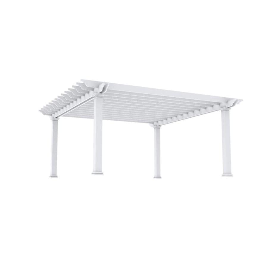 Outdoor Distinctions Harmony 242-in W x 242-in L x 108-in H White Freestanding Pergola with Canopy
