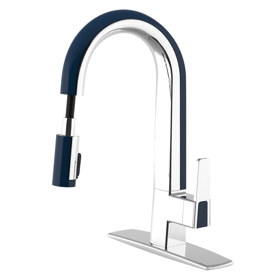 cleanFLO Matisse Chrome and Blue 1-Handle Pull-Down Kitchen Faucet