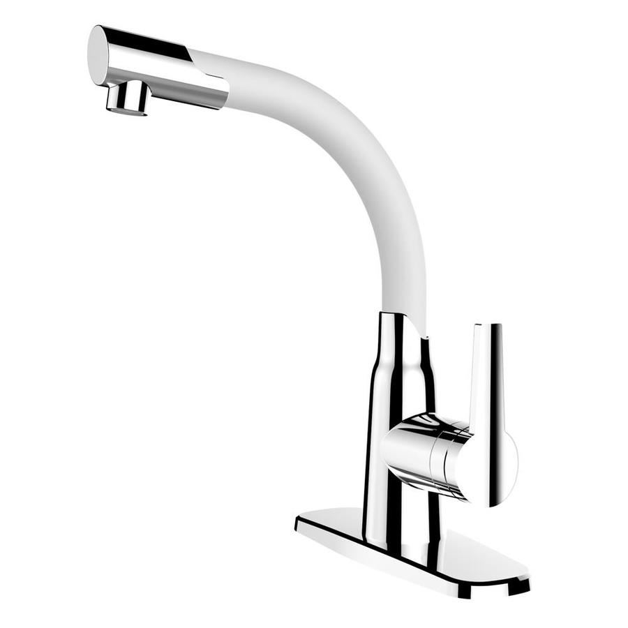 cleanFLO Dancer White and Chrome 1-Handle Single Hole/4-in Centerset Bathroom Sink Faucet