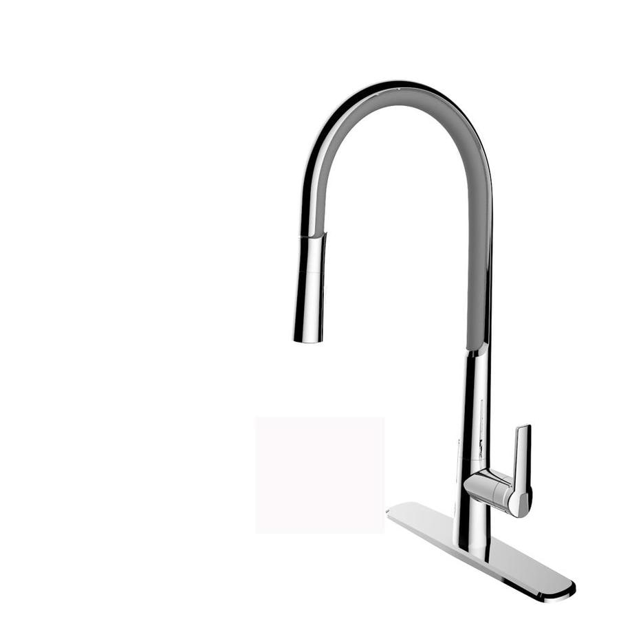 cleanFLO Breeze Gray and Chrome 1-Handle Deck Mount Pull-Down Kitchen Faucet