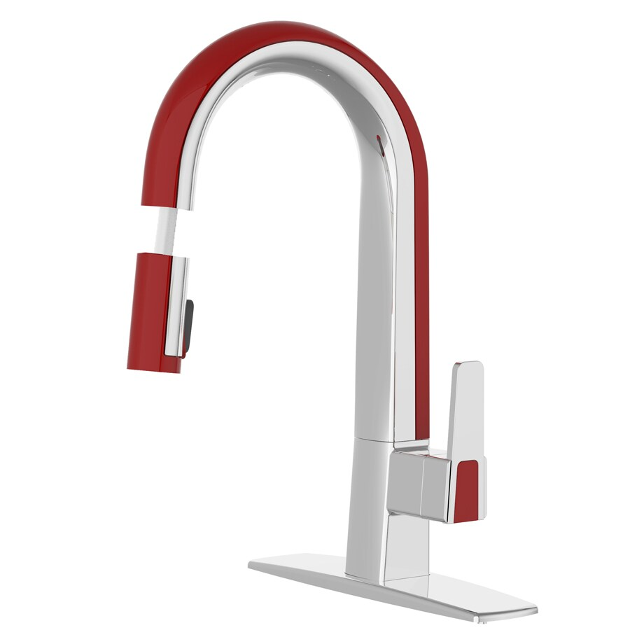 cleanFLO Matisse Chrome and Red 1-Handle Deck Mount Pull-Down Kitchen Faucet