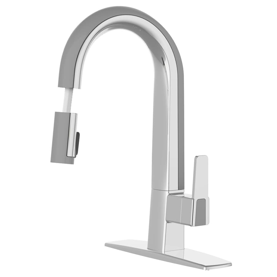 cleanFLO Matisse Chrome and Grey 1-Handle Deck Mount Pull-Down Kitchen Faucet