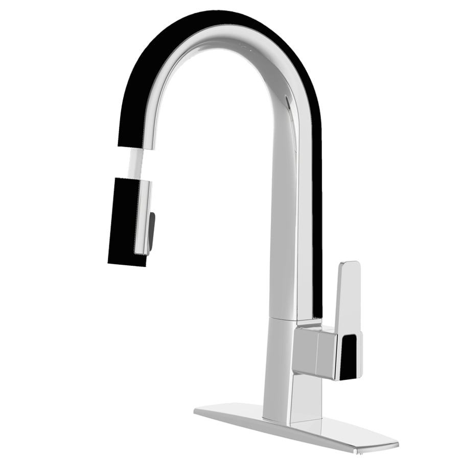 cleanFLO Matisse Chrome and Black 1-Handle Deck Mount Pull-Down Kitchen Faucet