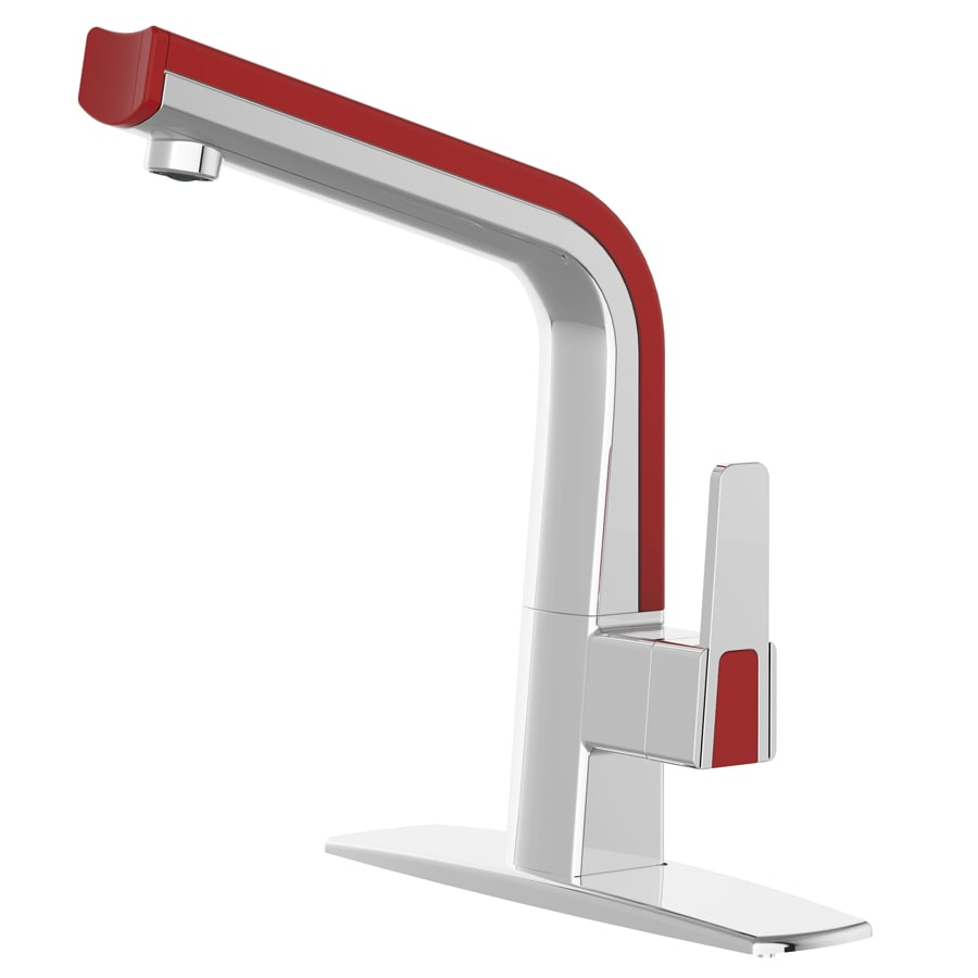 cleanFLO Matisse Chrome and Red 1-Handle Deck Mount High-Arc Kitchen Faucet
