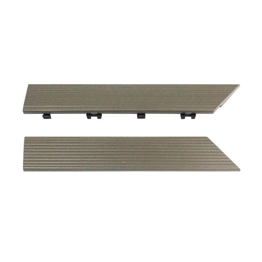NewTechWood 1/6 ft. x 1 ft. Quick Deck Composite Deck Tile Outside Corner Trim in Egyptian Stone Gray (2-Piece/Box)