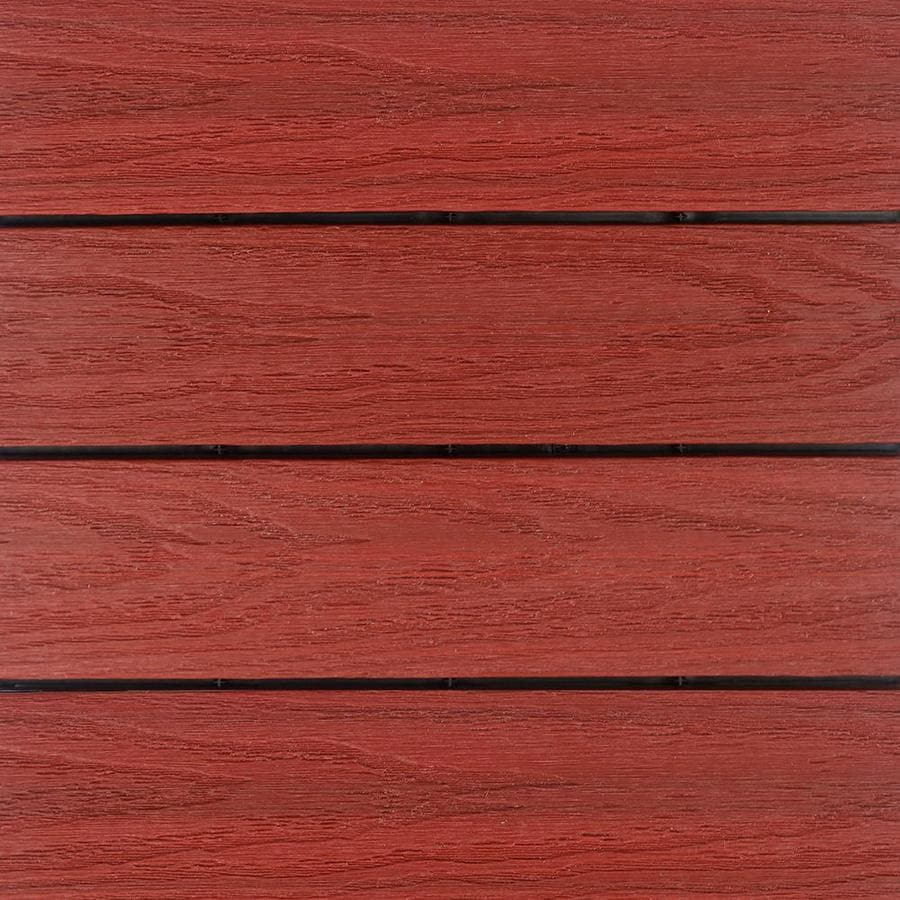 NewTechWood UltraShield Naturale 1 ft. x 1 ft. Quick Deck Outdoor Composite Deck Tile in Swedish Red (10 sq. ft. per box)