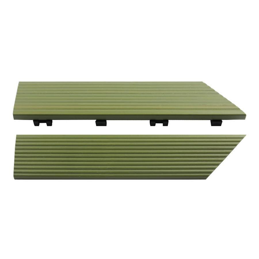 NewTechWood 1/6 ft. x 1 ft. Quick Deck Composite Deck Tile Inside Corner Trim in Irish Green (2-Piece/Box)