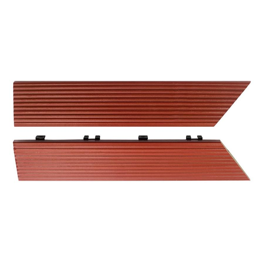 NewTechWood 1/6 ft. x 1 ft. Quick Deck Composite Deck Tile Outside Corner Trim in Swedish Red (2-Piece/Box)