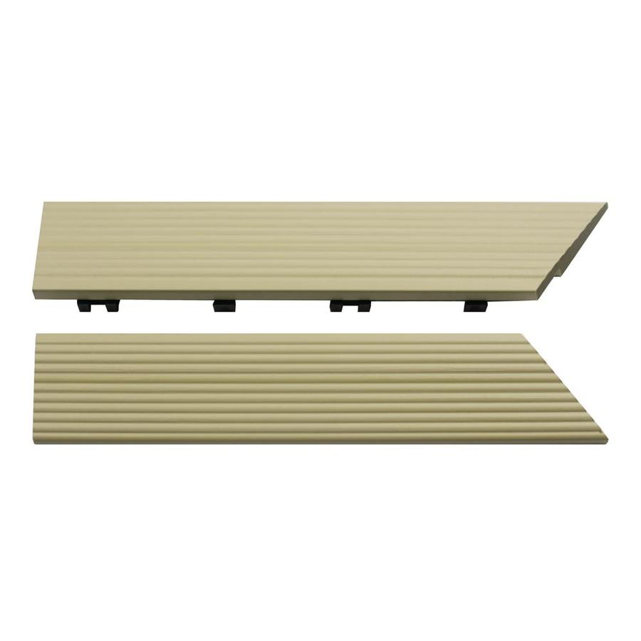 NewTechWood 1/6 ft. x 1 ft. Quick Deck Composite Deck Tile Outside Corner Trim in Sahara Sand (2-Piece/Box)