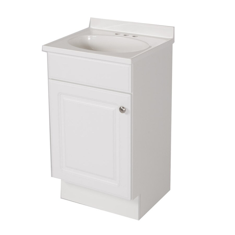Shop Project Source White Integral Single Sink Bathroom Vanity With Cultured Marble Top Common