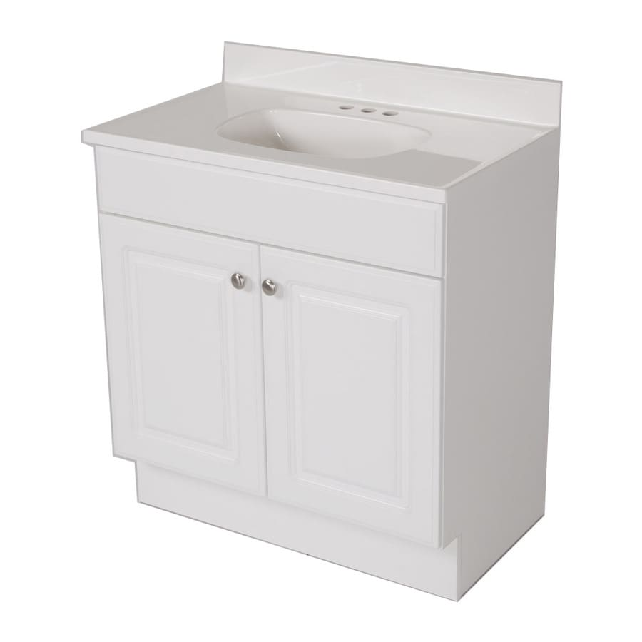 Astonishing Project Source White Integral Single Sink Bathroom Vanity Download Free Architecture Designs Scobabritishbridgeorg