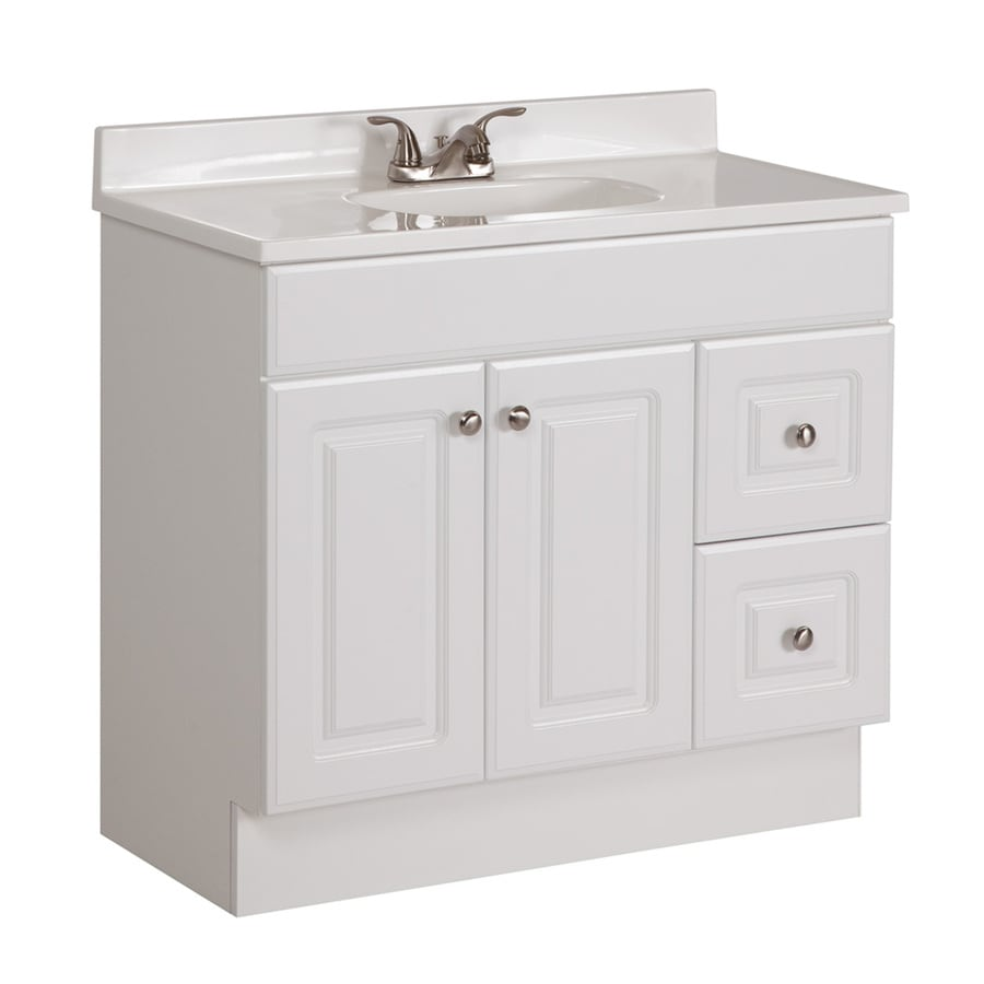 Project source white integral single sink bathroom vanity - Lowes single sink bathroom vanity ...