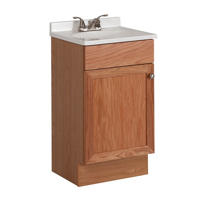 Project Source Oak Integral Single Sink Bathroom Vanity With Cultured Marble Top Common 18 In X 16 In Actual 18 6 In X 16 6 In In The Bathroom Vanities With Tops Department At Lowes Com