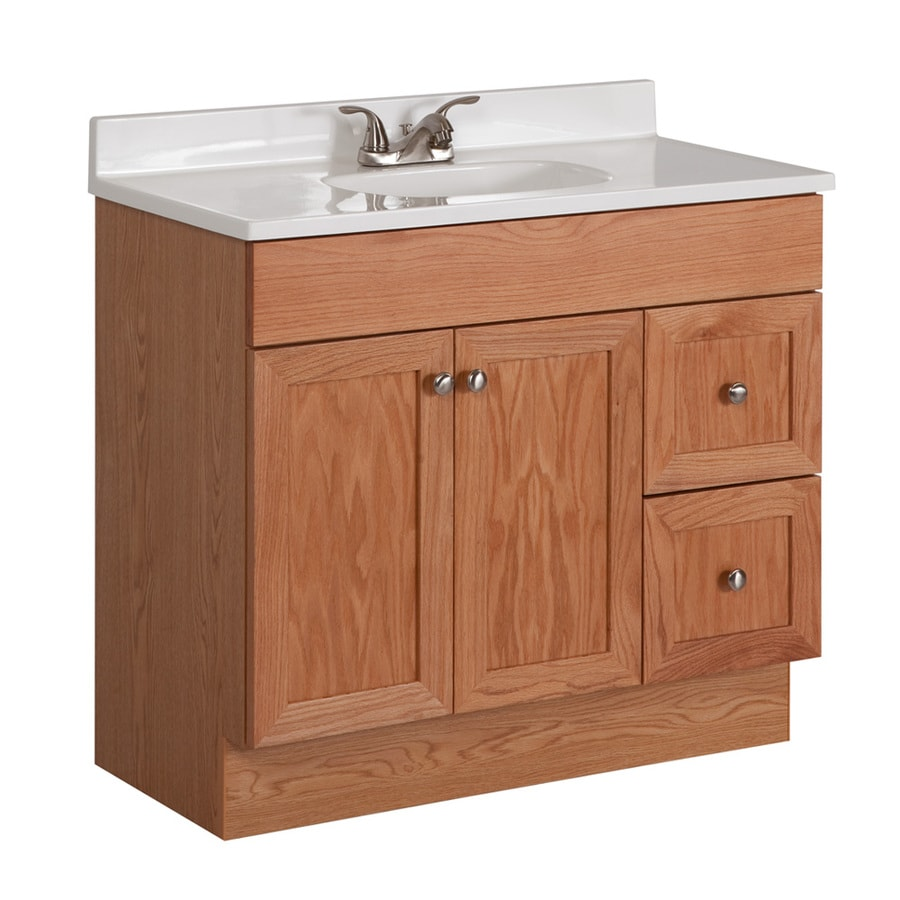 Genial Project Source Oak Integral Single Sink Bathroom Vanity With Cultured  Marble Top (Common: 36
