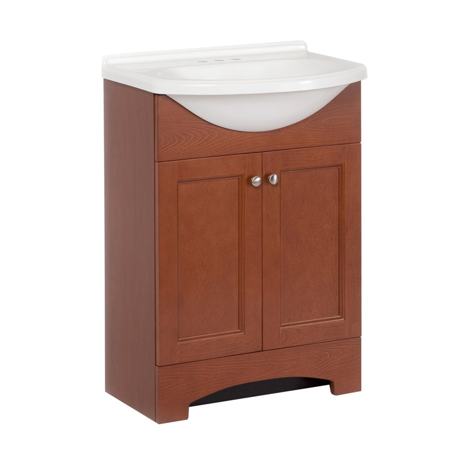 Style Selections 24-in x 26.8-in Russett Integral Single Sink Bathroom Vanity with Cultured Marble Top
