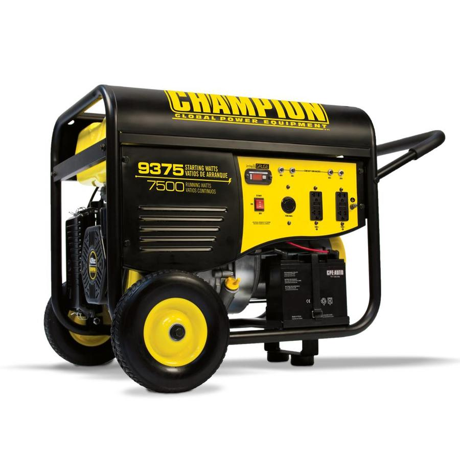 Shop Champion Power Equipment 7500-Running-Watt Portable Generator with Engine at Lowes.com