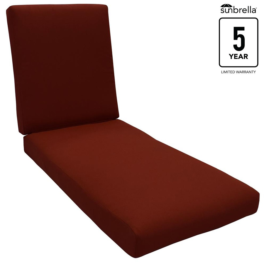 allen + roth Sunbrella Gatewood Canvas Chili Solid Standard Patio Chair Cushion for Chaise Lounge