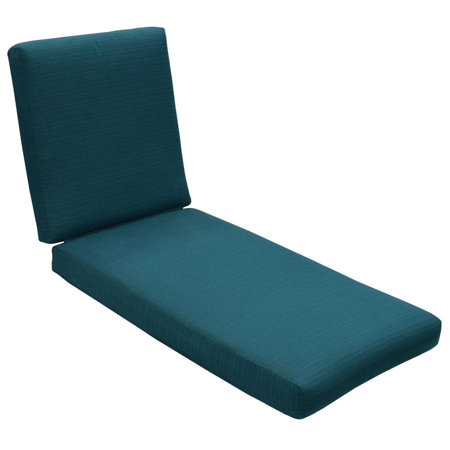 Shop allen roth sunbrella carrinbridge deep sea solid for Chaise longue cushion