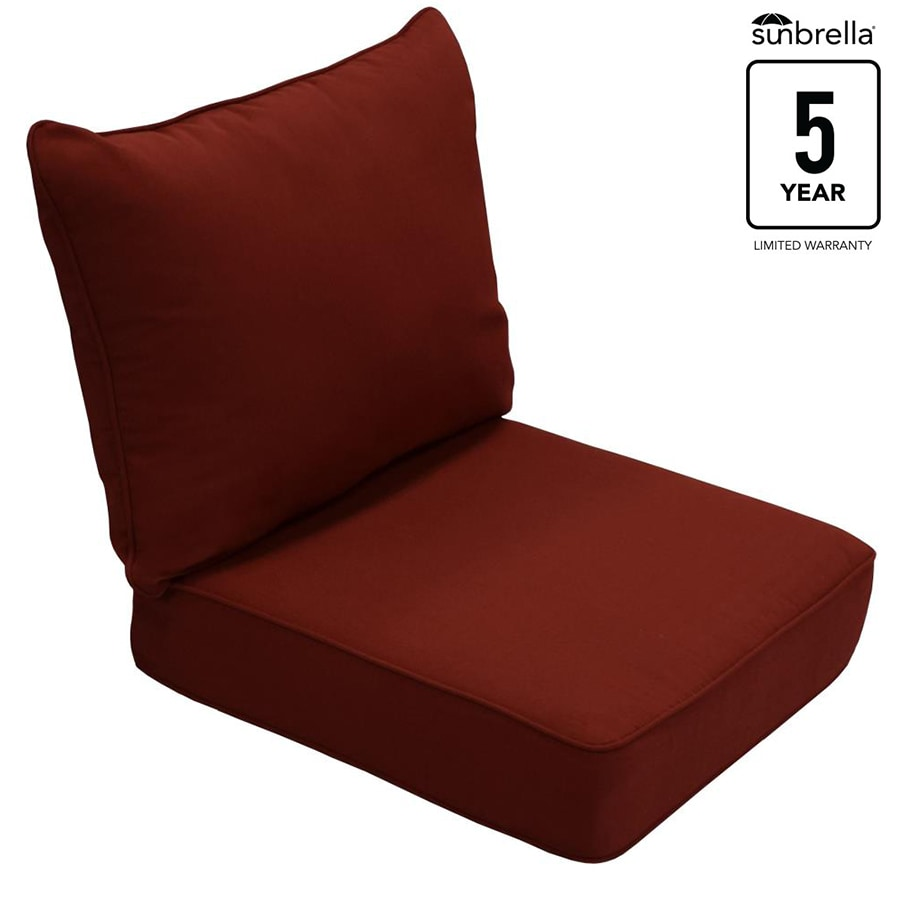 Shop allen roth sunbrella 2 piece canvas chili deep seat for Garden furniture cushions
