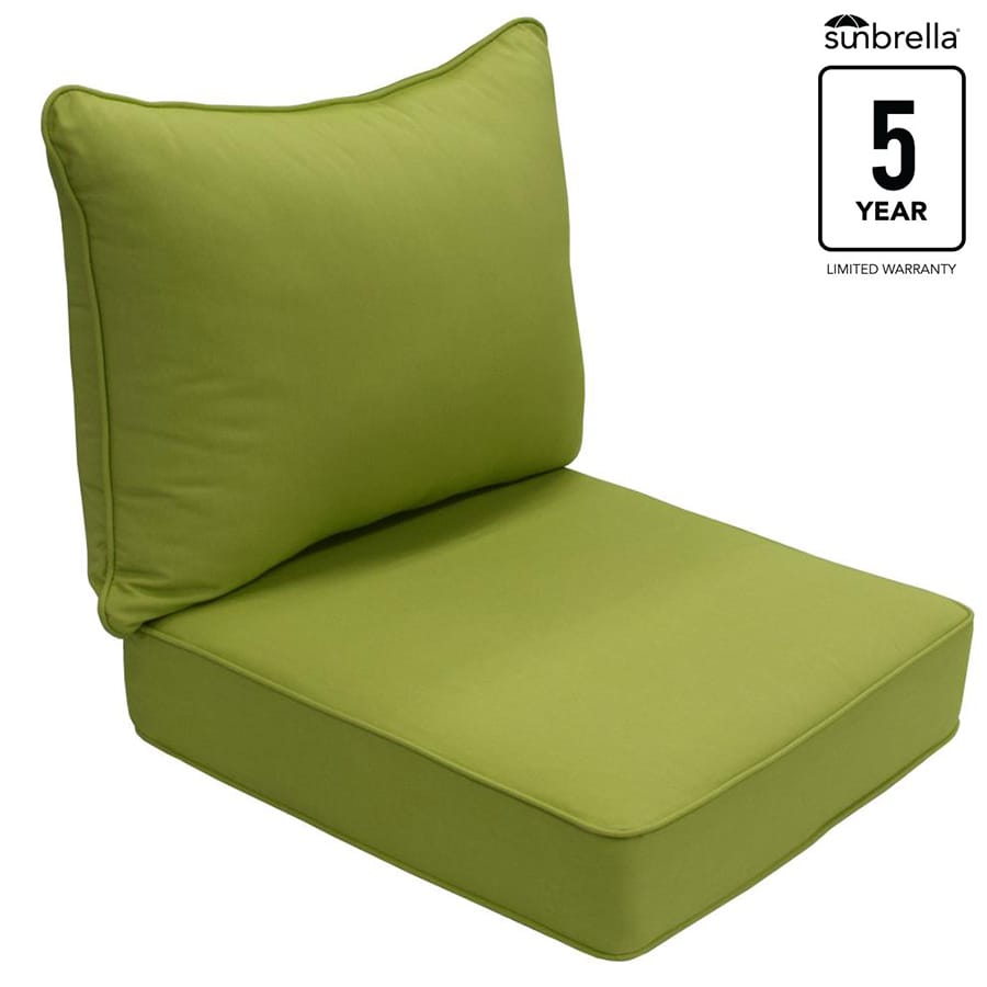 Shop allen roth sunbrella gatewood spectrum kiwi solid for Sunbrella patio furniture cushions