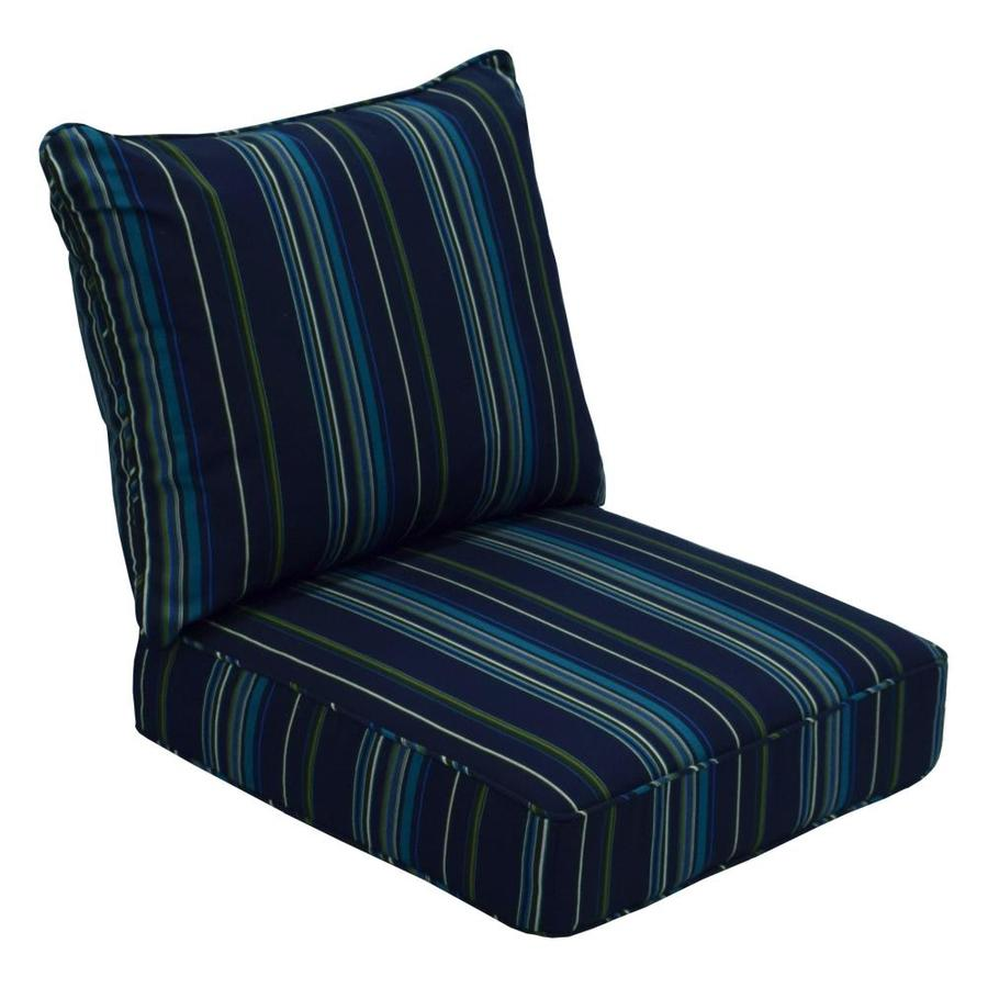 Shop allen roth sunbrella 2 piece stanton lagoon deep seat patio chair cushion at - Seat cushions for patio furniture ...