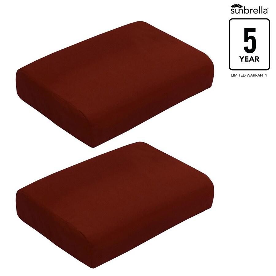 allen + roth Sunbrella Gatewood Canvas Chili Solid Ottoman Cushion for Ottoman