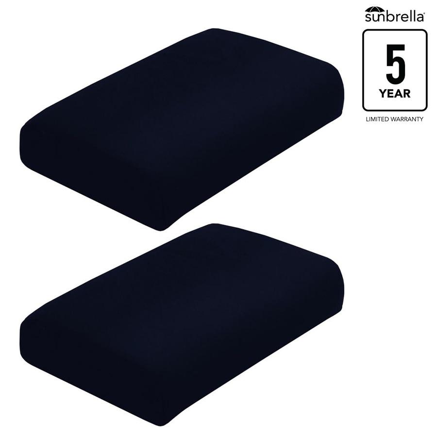 allen + roth Sunbrella Pardini Canvas Navy Solid Ottoman Cushion for Ottoman