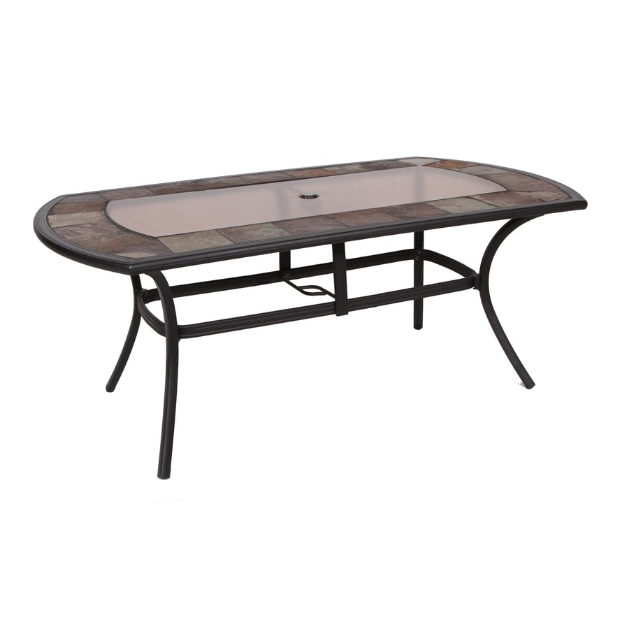allen + roth Safford Safford 40-in W x 71.75-in L Oval Aluminum Dining Table