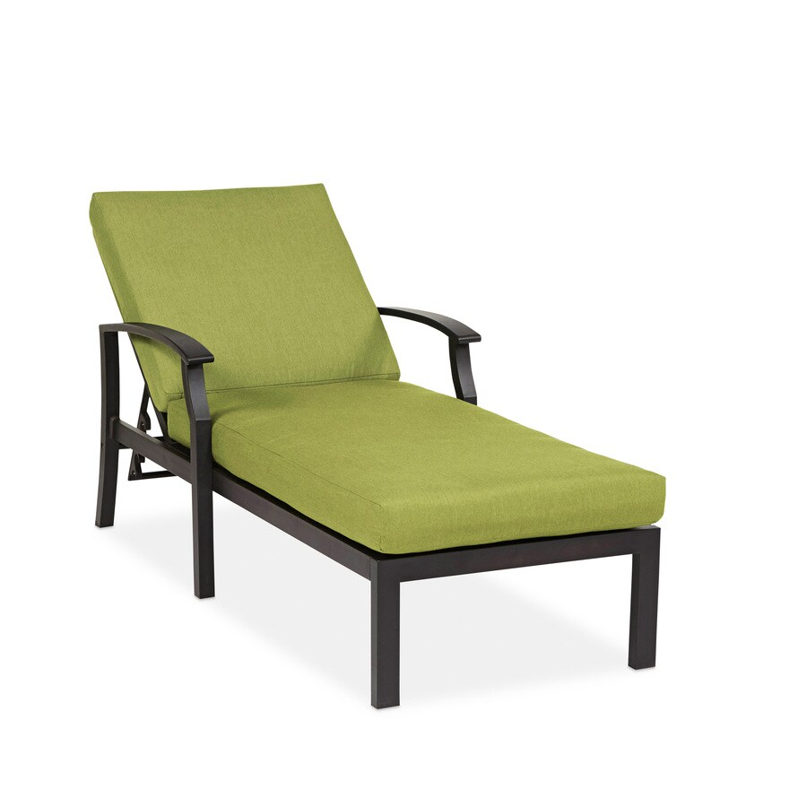 allen + roth Carrinbridge 1-Count Brown Aluminum Patio Chaise Lounge Chair with Cilantro Sunbrella Cushion