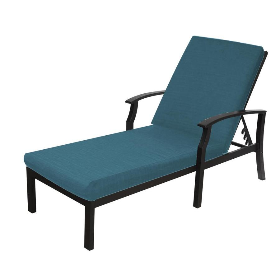 Allen + Roth Carrinbridge Aluminum Chaise Lounge Chair With Sunbrella  Dupione Deep Sea Cushion