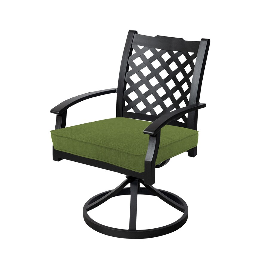 allen + roth Carrinbridge 2-Count Brown Metal Patio Dining Chair with Spectrum Cilantro with Cushions