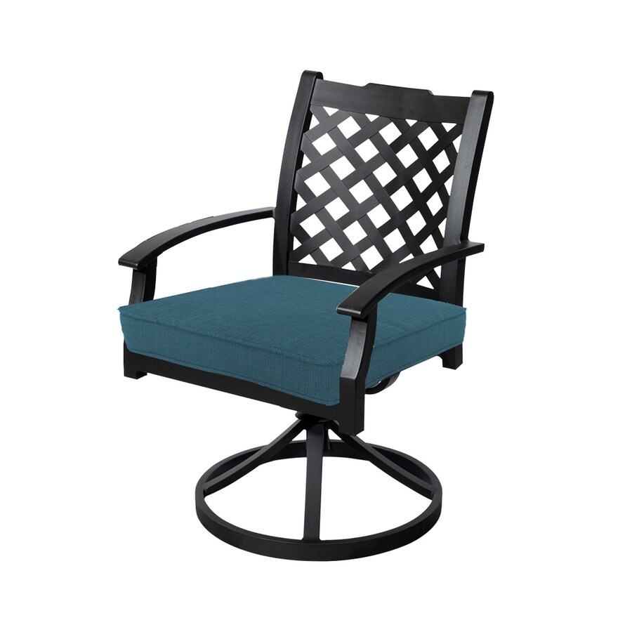 allen + roth Carrinbridge 2-Count Brown Metal Patio Dining Chair with Dupione Deep Sea with Cushions