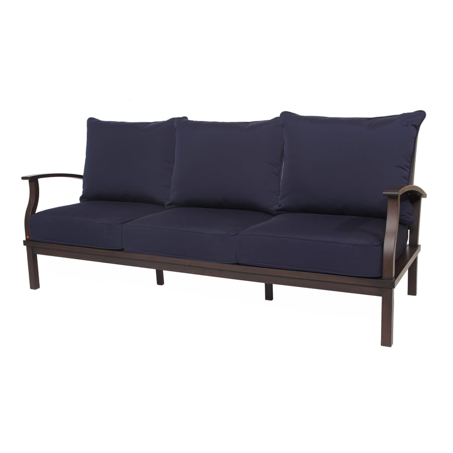 Shop Allen Roth Gatewood Solid With Cushions Brown Metal Sofa At