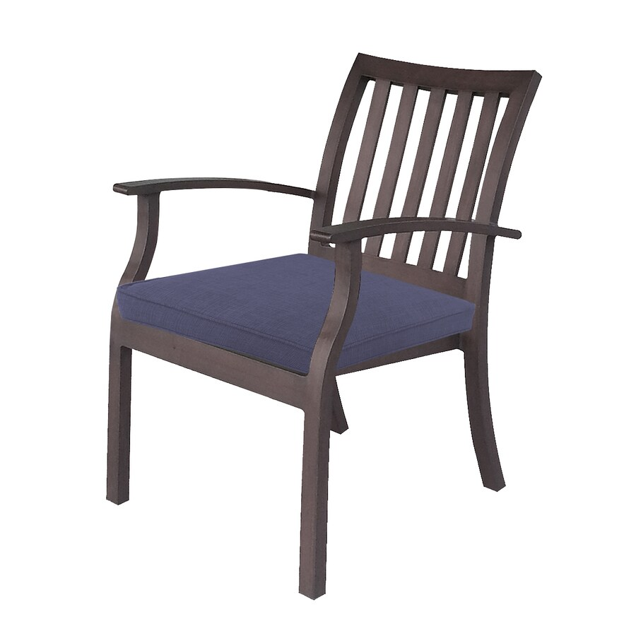 allen + roth Gatewood 2-Count Brown Metal Patio Dining Chair with Canvas Navy with Cushions