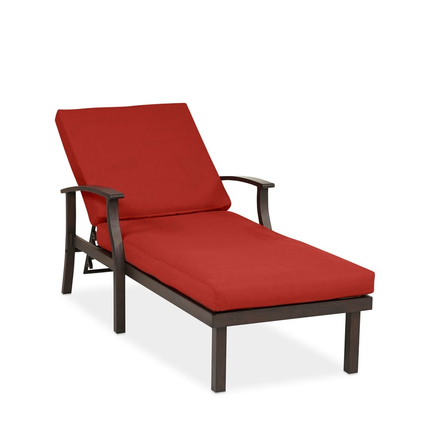 shop allen roth gatewood 1 count brown metal patio chaise lounge chair with canvas chili with