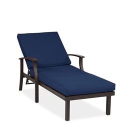 Allen + Roth Gatewood Aluminum Chaise Lounge Chairs With Sunbrella Canvas  Navy Cushion