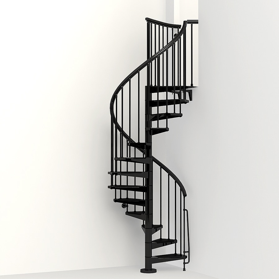 Arke eureka 47 in x 10 ft black spiral staircase kit at - Exterior metal spiral staircase cost ...