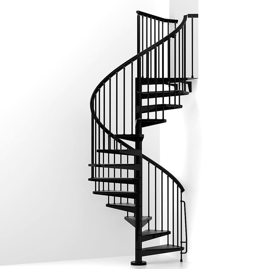 Arke eureka 63 in x 10 ft black spiral staircase kit at - Exterior metal spiral staircase cost ...