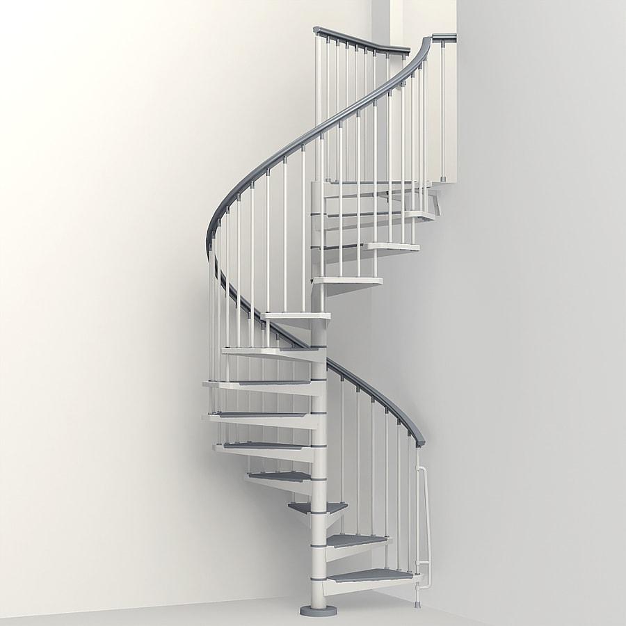 Arke Eureka 63-in x 10-ft White Spiral Staircase Kit