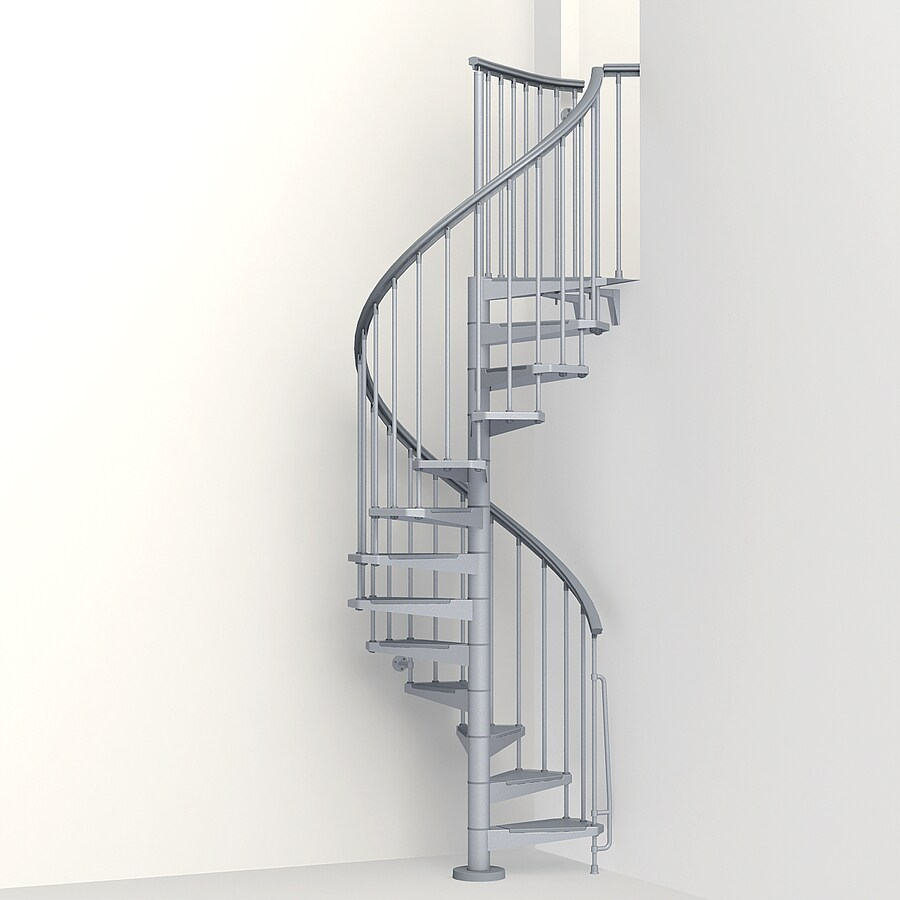 Spiral Staircase Lowes: Arke Eureka 47-in X 10-ft Gray Spiral Staircase Kit At