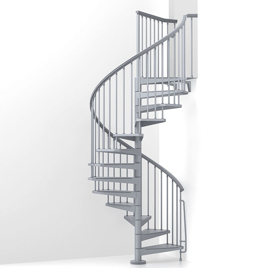 Arke Eureka 63 In X 10 Ft Gray Spiral Staircase Kit At Lowes Com
