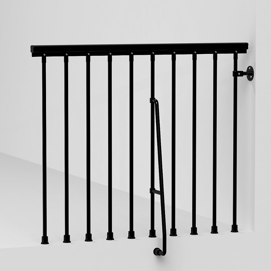 shop arke eureka 3 9 ft black painted steel stair railing. Black Bedroom Furniture Sets. Home Design Ideas