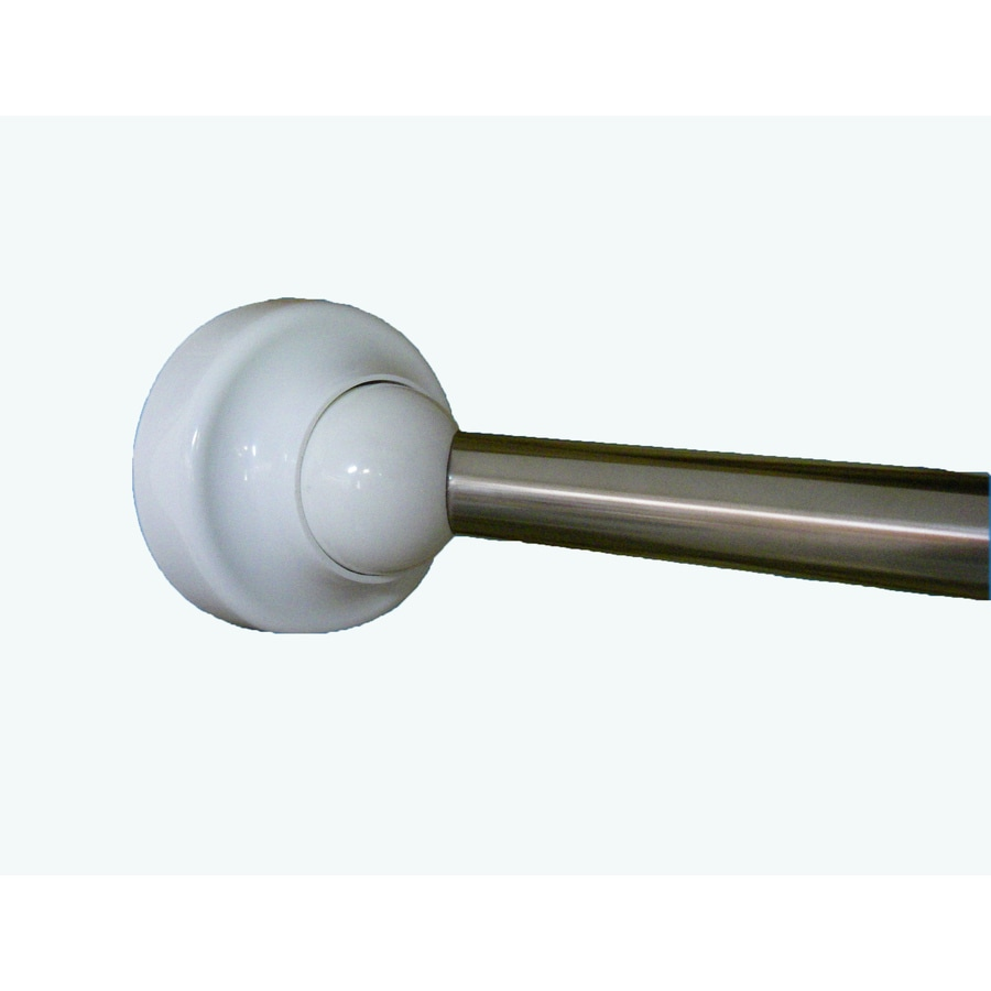 Rotator Rod 60-in Chrome Nickel with White Cap and Accent Curved Adjustable Single Shower Curtain Rod