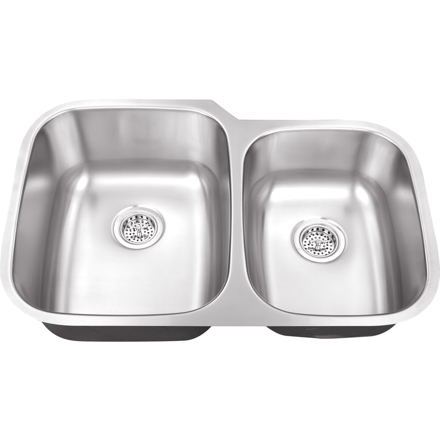 Superior Sinks 20.75-in x 32.0-in Brushed Satin Double-Basin Stainless Steel Undermount Residential Kitchen Sink