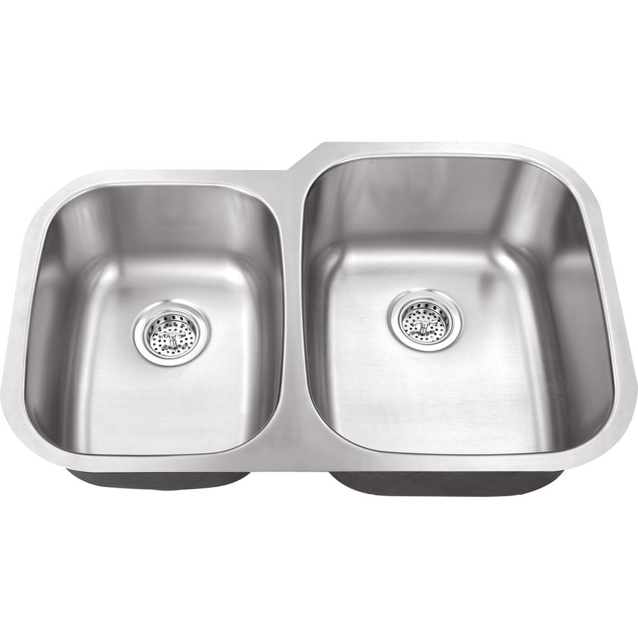 Superior Sinks 20.75-in x 32-in Brushed Satin Double-Basin Stainless Steel Undermount Residential Kitchen Sink