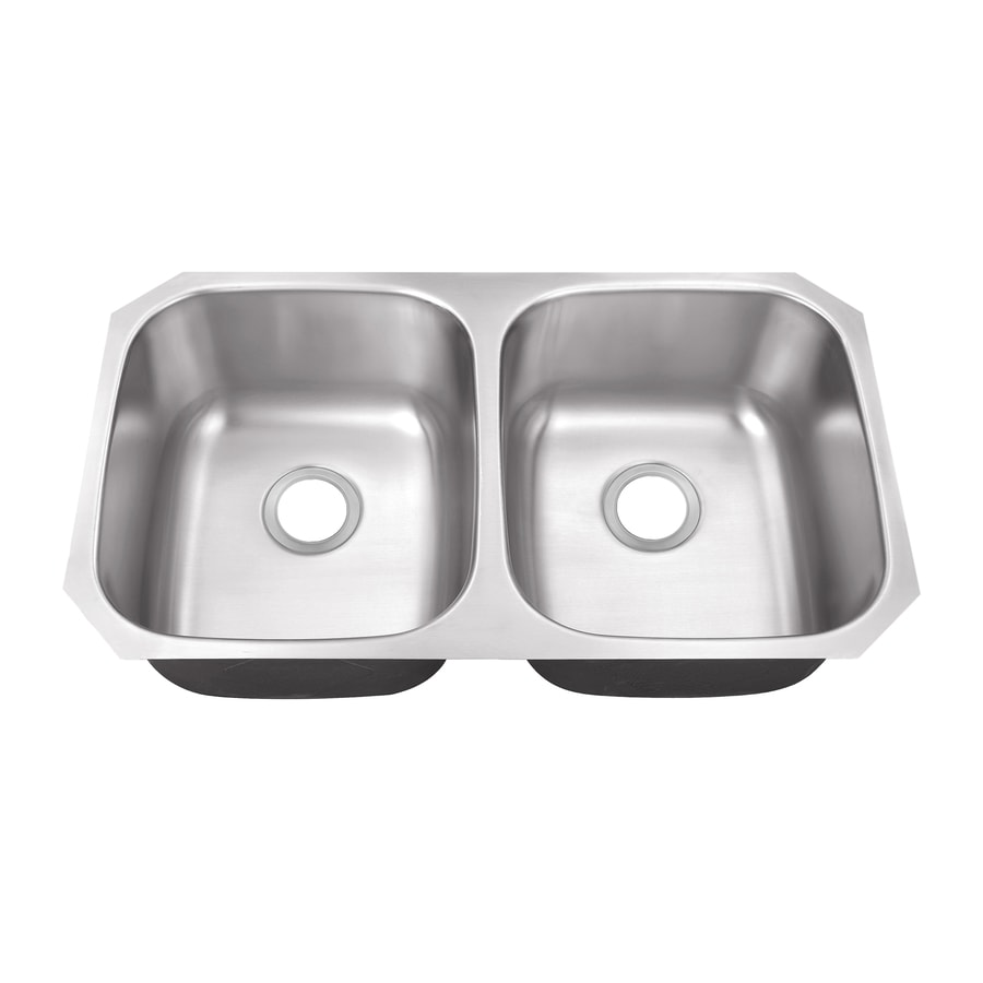 Superior Sinks 18.5-in x 32.5-in Brushed Satin Double-Basin Stainless Steel Undermount Residential Kitchen Sink