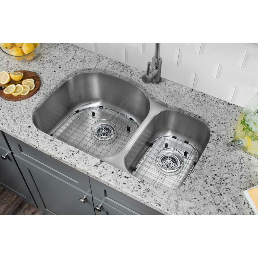Superior Sinks 20.5-in x 31.5-in Satin Brush Stainless Steel Double-Basin Undermount Residential Kitchen Sink