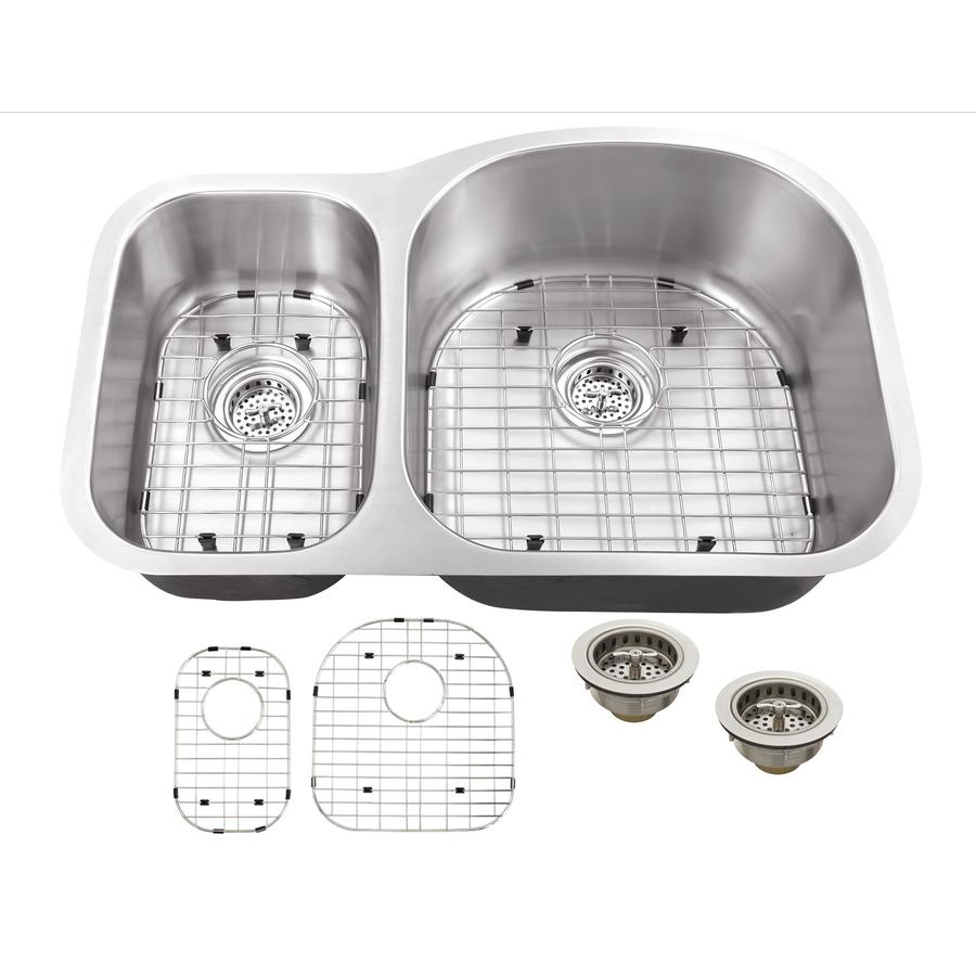 Superior Sinks 20.5-in x 31.5-in Satin Brush Stainless Steel Double-Basin Undermount Residential Kitchen Sink