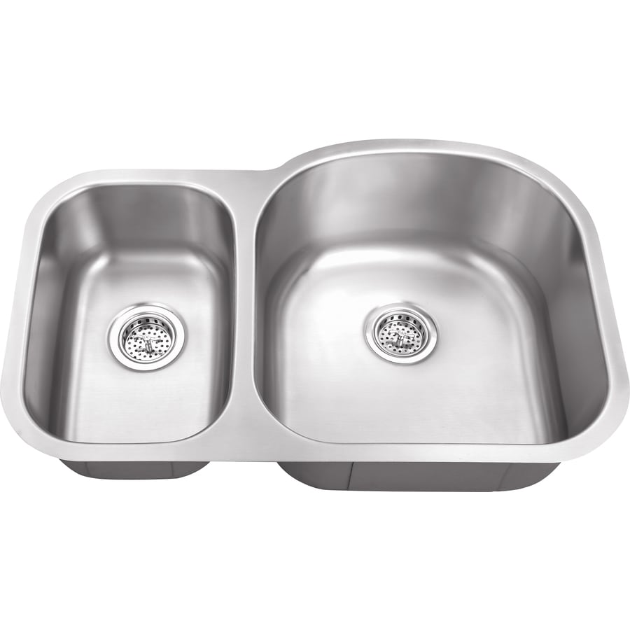 Superior Sinks 20.5-in x 31.5-in Brushed Satin Double-Basin Stainless Steel Undermount Residential Kitchen Sink