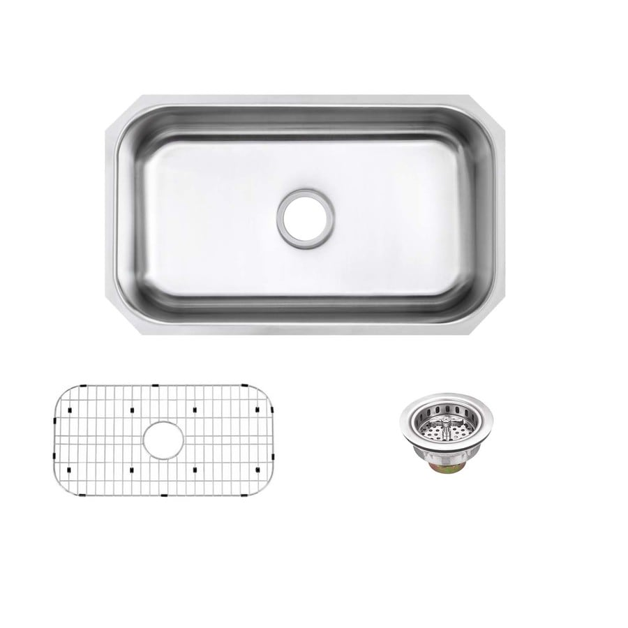 Superior Sinks 18.0-in x 30.0-in Brushed Satin Single-Basin Stainless Steel Undermount Residential Kitchen Sink